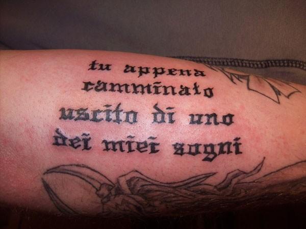 Black ink italian quote tattoo on arm tattooimages biz