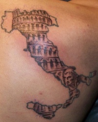 Italy coliseum in map tattoo